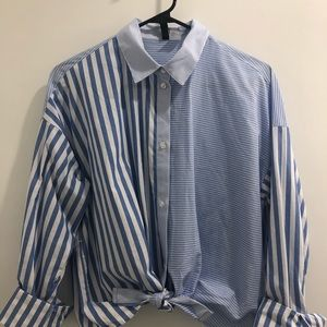 Cropped and tied striped button down